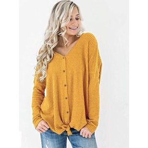 Yellow Casual Bat Wing Thermal Cardigan Sweater